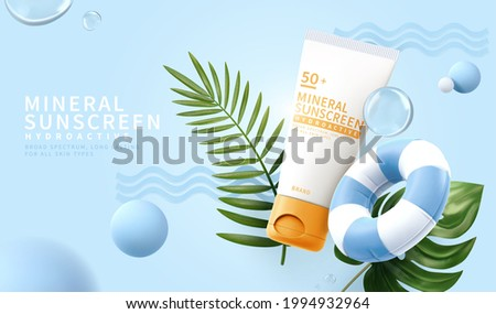 3d minimal cosmetic ad for summer skincare products. Sunscreen tube mockup with tropical leaves, swimming ring and decorative balls.