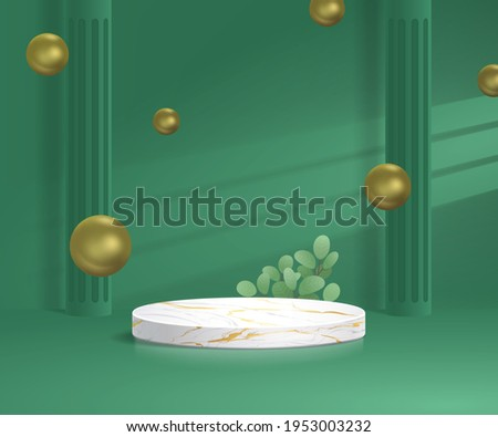 3d minimal marble podium in green background with gold, leaf, spherical gold, pilar, window shadow, light. Pedestal, stage, base vector Foto stock ©