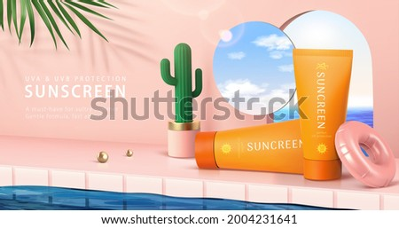 3d minimal pink scene design for summer skincare products. Realistic sunscreen tubes set beside swimming pool, decorated with cactus pot, portal and mirror.