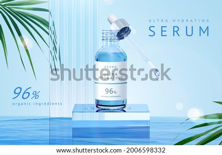 3d minimal product display scene for serum, essence or essential oil. Dropper bottle stands on glass cube podium in the middle of water. Suitable for organic or hydrating skincare products.