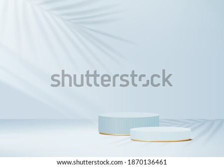3d minimal scene abstract with leaf geometric blue platform.3d background scene render with podium. Cylinder to show cosmetic product minimal. Stage abstract on pedestal shapes 3d studio blue minimal