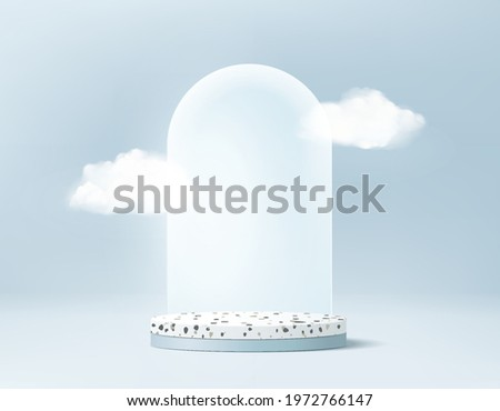 3d minimal stage background product display podium scene with cloud platform. cloud background vector 3d render with podium. stage cloud 3d minimal to show product. Stage display rendering blue studio
