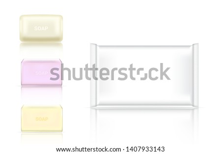 3D Mock up Realistic Soap Bar Cosmetic Packaging Paper Wrap or Plastic Pack for Advertising Design Background Illustration