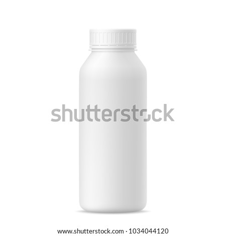 3d mockup of plastic milk, yogurt, drink, shampoo bottle with lid on white background. Vector illustration of package for liquid. Template for your design.