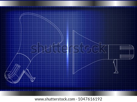 3d model of a speaker on a blue background. Drawing #1047616192
