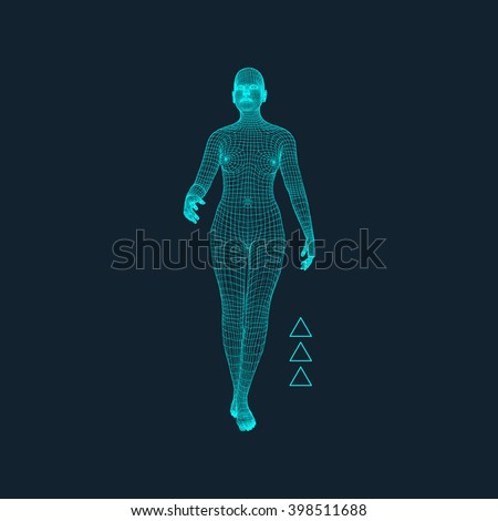 3d model of woman polygonal