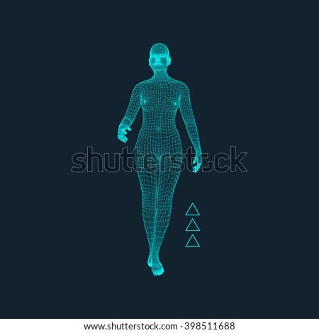3d model of woman polygonal