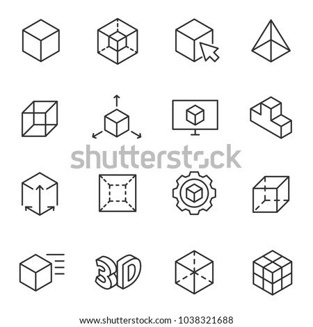 3D modeling icon set, 3-dimensional model, thin line design. Line with Editable stroke