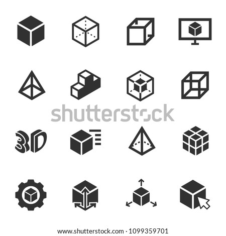 3d modeling  monochrome icons
