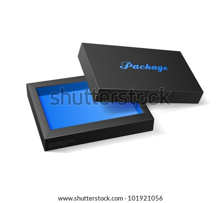 3D Modern Candy Open Box, Black And Blue: EPS10