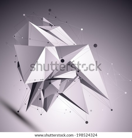 3D modern cybernetic abstract background, origami futuristic template with lines mesh. Asymmetric figure with black and white wireframe. #198524324