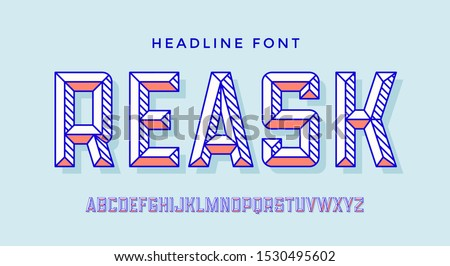 3D Modern Font . Colorful modern line alphabet and 3d font. Bold uppercase retro letters with facet. Type, typography line letters latin font. Hand-drawn modern font for headline. Vector Illustration