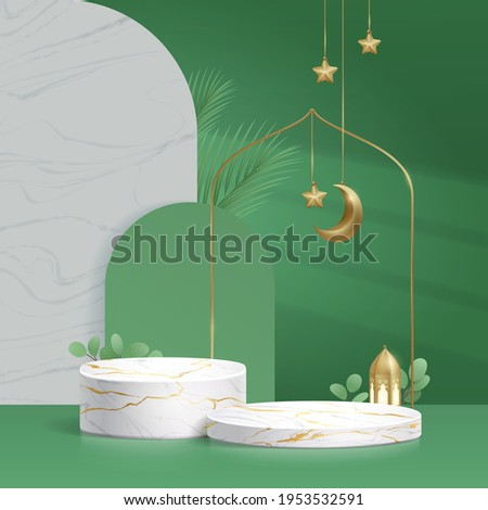 3d modern Islam podium in green background for product display with lantern, crescent moon, dates leaf, stars. White Marble podium with gold crack, texture wall. stage, pedestal, presentation vector