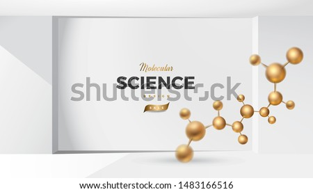 3d molecules vector design. Science abstract background with molecular structure. Atoms model illustration, scientific banner for medicine, biology, chemistry or physics template