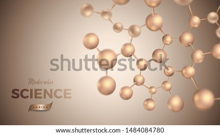 3d molecules vector design. Science abstract illustration background with molecular structure. Atoms model, scientific banner for medicine, biology, chemistry or physics template