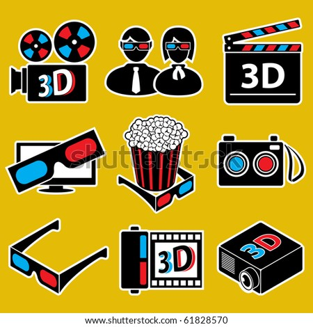 3d movie devices icon set