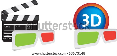 3d movie icon set illustration set on white - stock vector