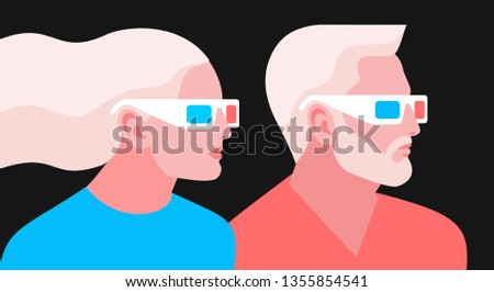 3d movie lovers couple in love