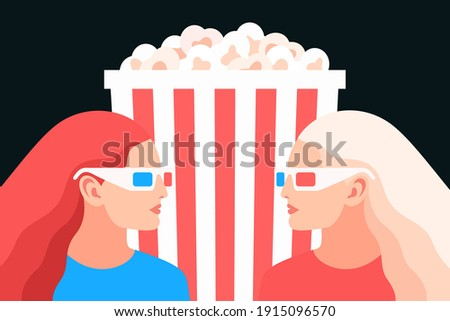 3d movie lovers two girls