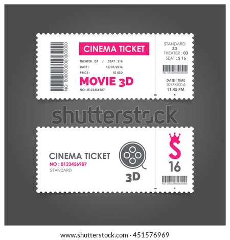 3d Movie Ticket Cinema concept with ticket icons design, vector illustration 10 eps graphic.