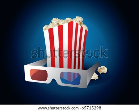3d movie with popcorn on blue