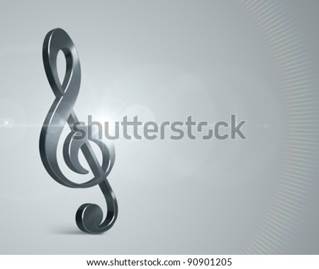 3d Music note and light effects vector background. Eps 10