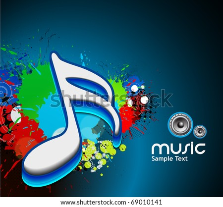 3d music note on a grunge music background, vector illustration