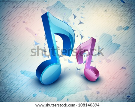 3D music notes on colorful grungy background. EPS 10.