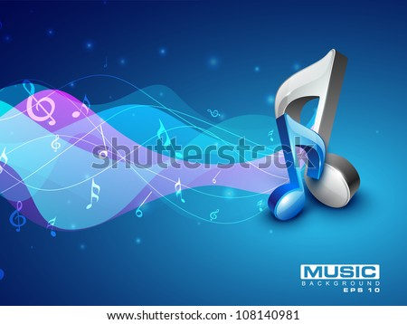 3D musical note on colorful wave background. EPS 10.