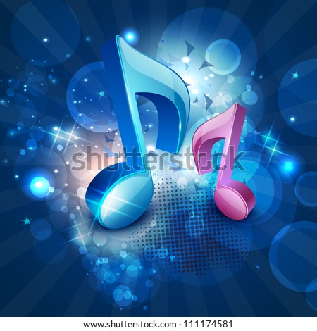 3D musical notes on shiny blue background. EPS 10.
