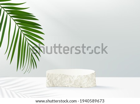 3d nature summer podium background product display podium scene with stone. nature background vector 3d render with podium. display stand to cosmetic product. Stage on pedestal 3d display background