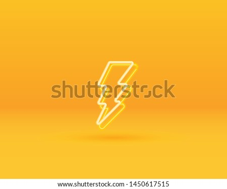 3D neon lightning bolt. Design Elements for Web, Internet, App, Advertisement, Promotion. Vector.