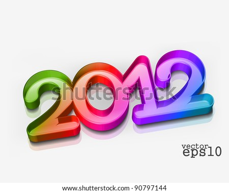 3d new year 2012 design element. Vector illustration