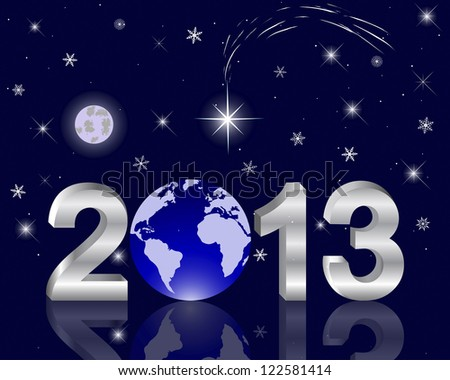 3d 2013 New Year with a globe against the night sky with a star of Bethlehem. Vector illustration.