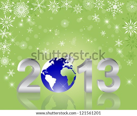 3d 2013 New Year with globe and reflection on the holiday background. Vector illustration.
