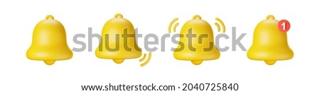 3d notification bell icon set isolated on white background. 3d render yellow notification ringing bell for social media reminder. Realistic vector icon