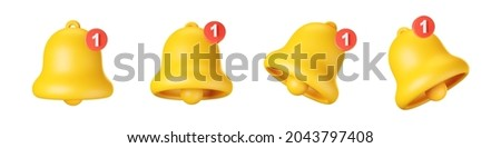3d notification bell icon set isolated on white background. 3d render yellow ringing bell with new notification for social media reminder. Realistic vector icon