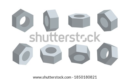 3D nut in various angles vector. Nuts top view, side view, half turn. Foto stock ©