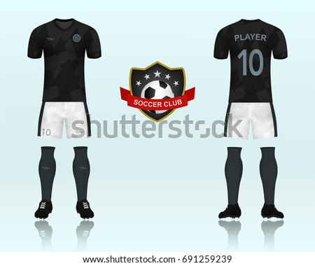 3D of Font and back of soccer jersey shirt in black pattern with white pants  and 305342c38