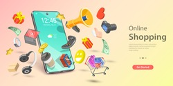 3d Online Shopping Landing Page Template, Mobile Store Concept, Fast Delivery Service, Digital Advertising Campaign.