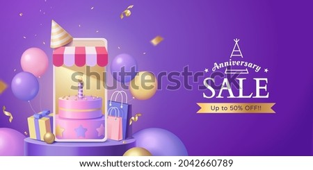 3d online store anniversary sale banner. Pink cake displayed on phone screen with gift box, shopping bags, colorful balloons and confetti around.
