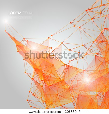 Stock Photo 3D Orange Abstract Mesh Background with Circles, Lines and Shapes | EPS10 Design Layout for Your Business