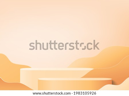 3d orange podium render for summer tropical. background product display scene with holiday tropical platform. summer background vector 3d with podium. stand for cosmetic product display