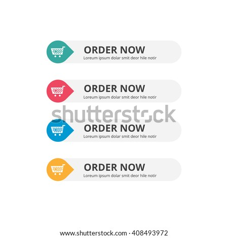 3d Order Now Button set with icon. beautiful text button with icon. Orange Button, Blue Button, Red Button, Turquoise button. Call to action icon button. Flat Button Set. Vector Illustration