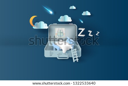 3D Paper art and craft style of bedroom in suitcase concept your text space background.Illustration of idea design couch in bag.The moon at night. Have a beautiful shooting star light.shadow.vector.