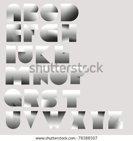 3d paper cut font from A to Z