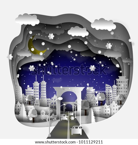 3D paper illustration of a winter city with houses, streets, skyscrapers, snowflakes, night sky with stars and moon, paper art and craft style