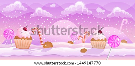 2D Parallax Background of candy . You can use this background for a game or application project. 100% vector.