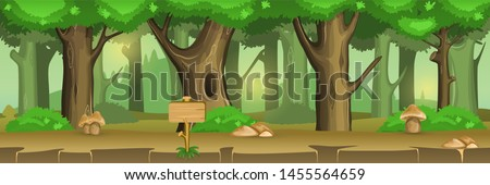 2D Parallax Background of forest . You can use this background for a game or application project. 100% vector.