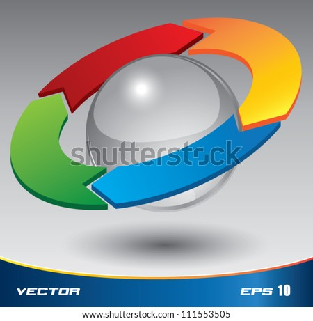 3D PDCA vector color, can use for business concept, education diagram, brochure object.